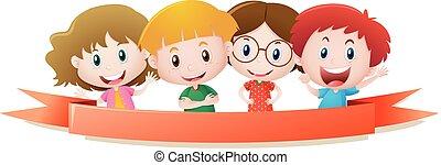 etykieta, szablon, z, cztery, dzieciaki, uśmiechanie się