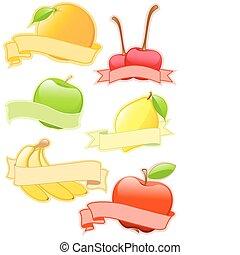 etykiety, barwny, owoc