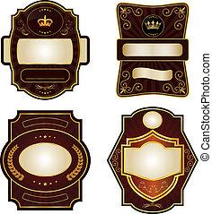 etykiety, komplet, gold-framed