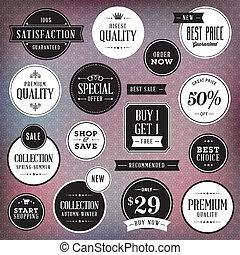 etykiety, komplet, luksus, symbole