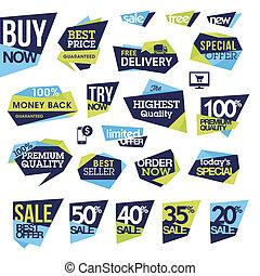 etykiety, komplet, sprzedaż, symbole