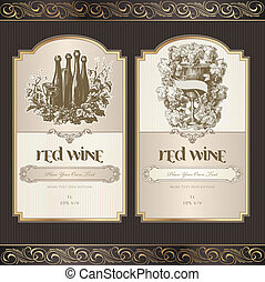etykiety, komplet, wino