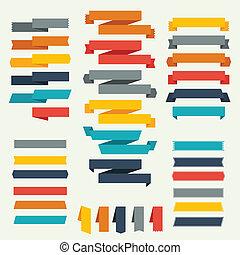 etykiety, komplet, wstążki, retro, design.