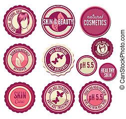 etykiety, kosmetyki, zbiór