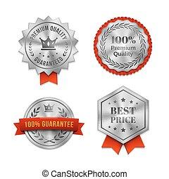 etykiety, metaliczny, symbole, jakość, srebro, albo