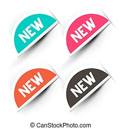 etykiety, nowy, komplet, ikony, skuwka