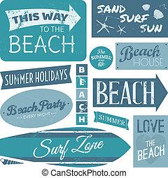 etykiety, plaża, zbiór
