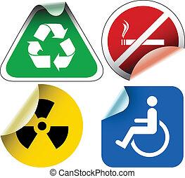 etykiety, różny, symbole