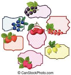 etykiety, symbole, berries., komplet, różny