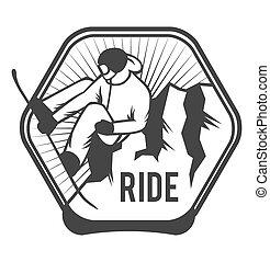 etykiety, uciekanie się, logo, emblematy, narta, symbole