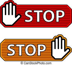 etykiety, zatrzymywać, ręka, wektor, pasiasty, gest