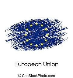 (eu), 単純である, 旗, 隔離された, イラスト, 合併フラグ, ベクトル, 背景, グランジ, 白, ヨーロッパ