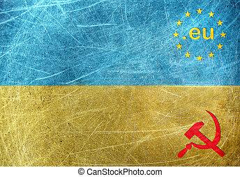 EU against Russia motif on the flag of Ukraine