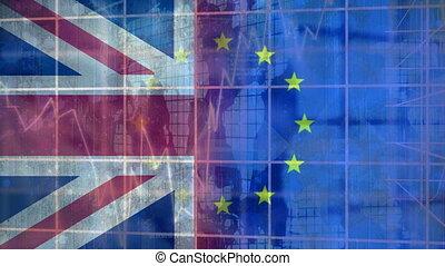 Eu and britain flag video - Eu and britain flag against ...