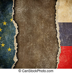 EU and Russian torn paper flags. Break of diplomatic relations.