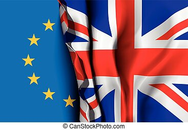 EU and UK flag - Flag of United Kingdom over the flag of the...