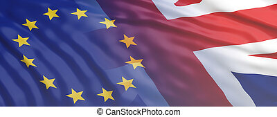 Brexit. EU and United Kingdom flag waving. 3d illustration