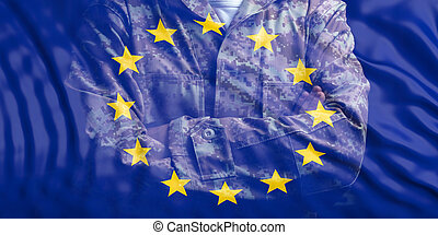 EU Army. European Union flag and faded soldier with crossed arms. 3d illustration