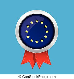 EU badge with red ribbon