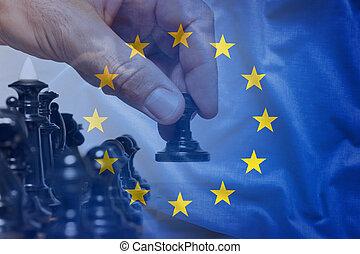 eu, bandiera, concetto, mossa gioco scacchi
