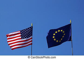 eu, bandiere, stati uniti