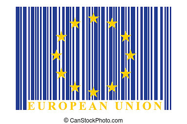 eu, barcode, drapeau, vecteur