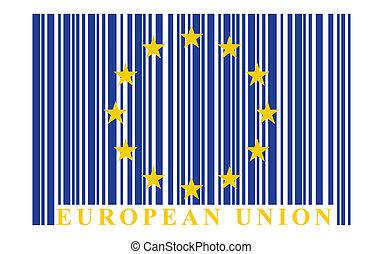 EU barcode flag, vector