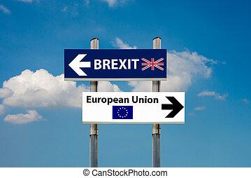 eu, brexit, panneaux signalisations