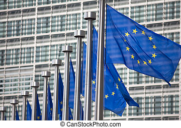 eu, commission, bruxelles, drapeaux, européen