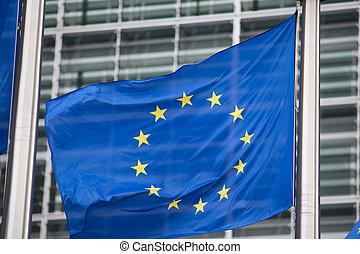 eu, commission, drapeau, bruxelles, européen
