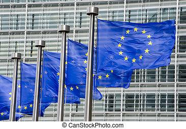 eu, commissione, bandiere, fronte, bruxelles, europeo