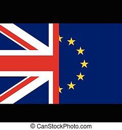 eu, concept, drapeaux, royaume-uni