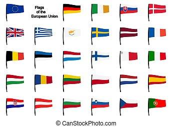 eu, drapeaux, collection