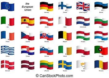 eu, drapeaux, -, collection, pays