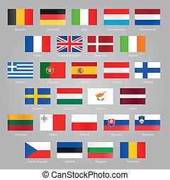 eu, drapeaux, pays