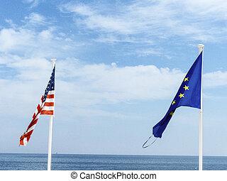 eu, drapeaux, usa