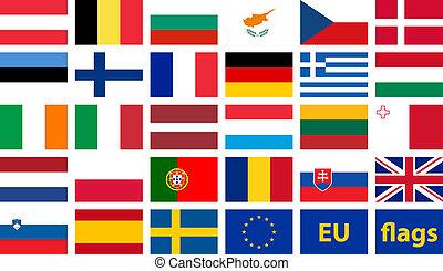 eu, drapeaux