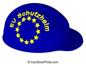EU - a helmet with the color of EU and stars and german...
