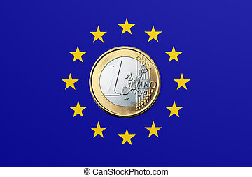 EU - European Union - European Union Flag and one Euro coin