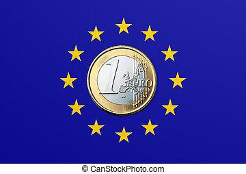 EU - European Union - European Union Flag and one Euro coin