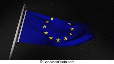 Eu European Union Flag Flying 30fps 4k Video Of Banner ...