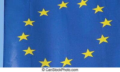 EU, European Union flag waving at summit meeting in Brussels