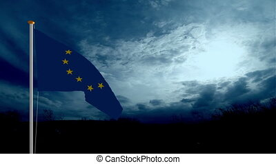 EU Flag against clouds Fly Away And Falling Down