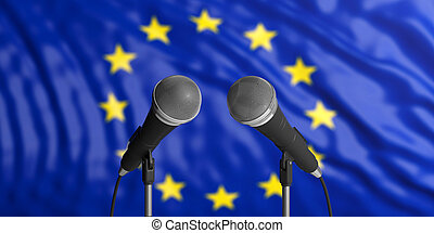 EU flag background with two microphones in front of it. Close up view. 3d illustration