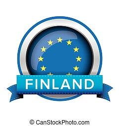 EU flag button with Finland ribbon