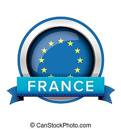 EU flag button with France ribbon