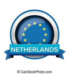 EU flag button with Netherlands ribbon