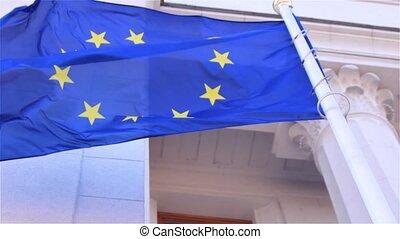 EU flag   - EU flag fluttering in the wind