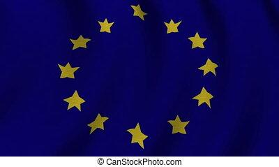 EU Flag  - 1080p: Europe's flag waving