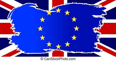 EU Flag Grunge Over UK Flag